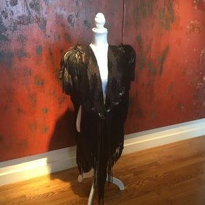 Pat Dahnke Feathered, Fur, Jeweled leather shawl